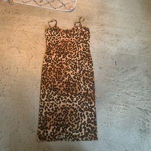 FASHION NOVA leopard cami body con tank dress L